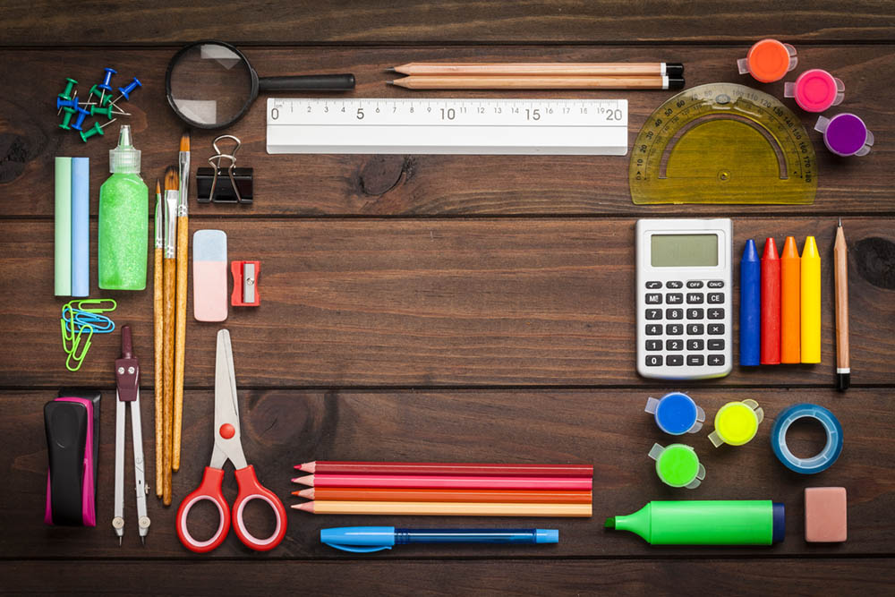 Top View Of School Or Office Supplies With Copy Space On ...