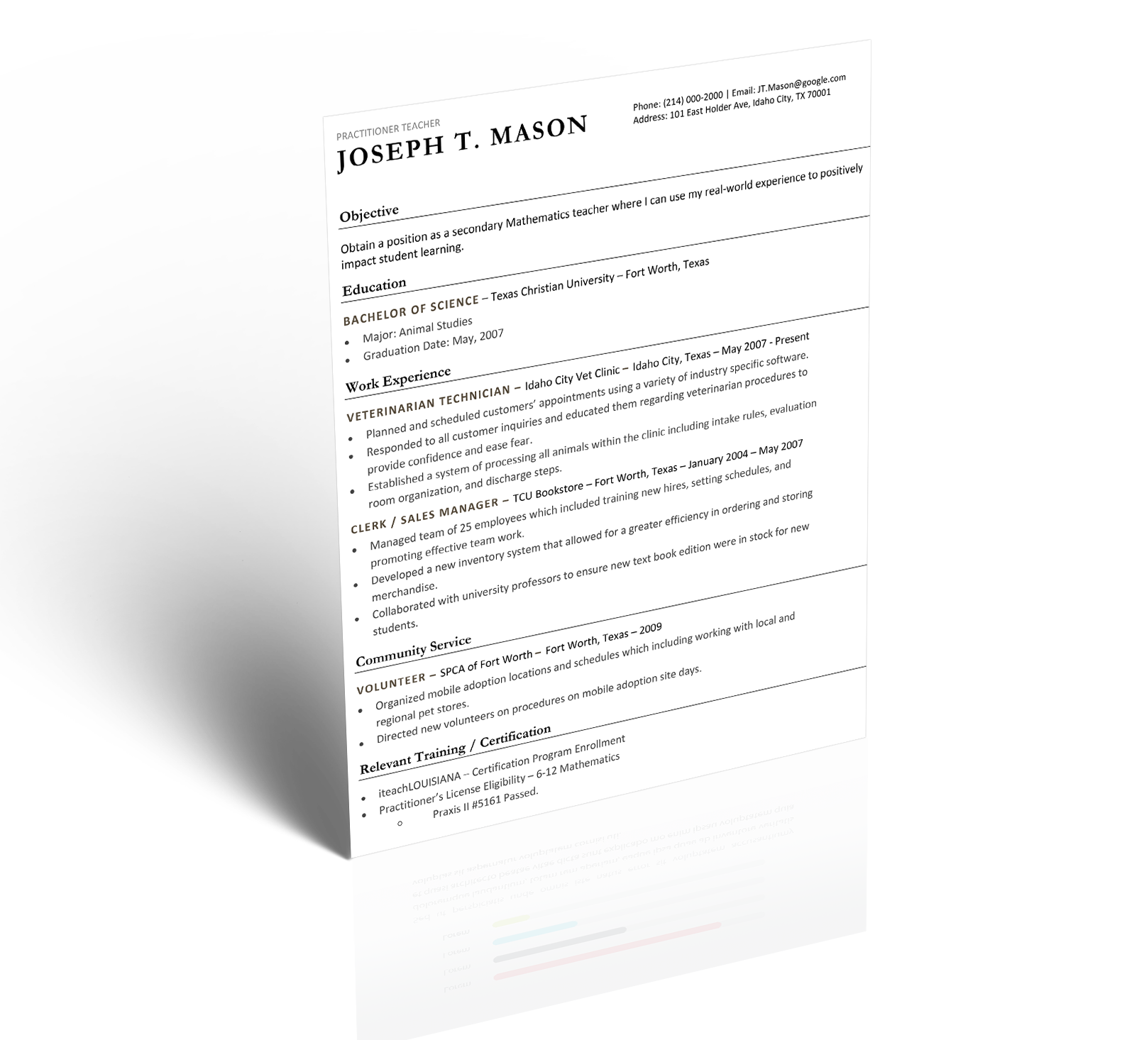 Teacher resume 5 minute guide to writing the perfect resume download template option 1 xflitez Image collections