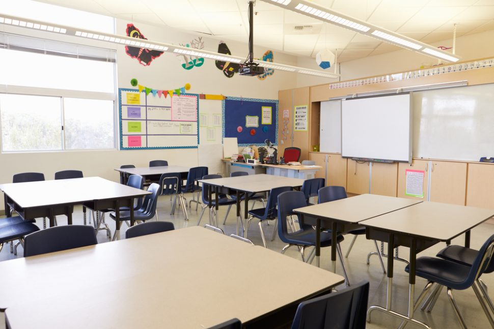 Empty classroom with whiteboard