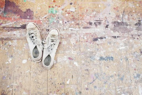shoes with a splatter paint background