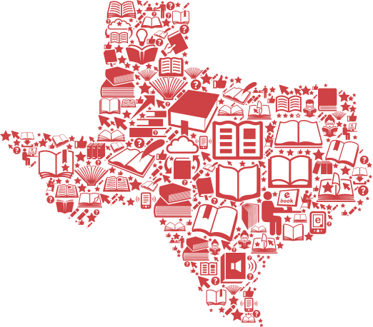 State of Texas graphic with books