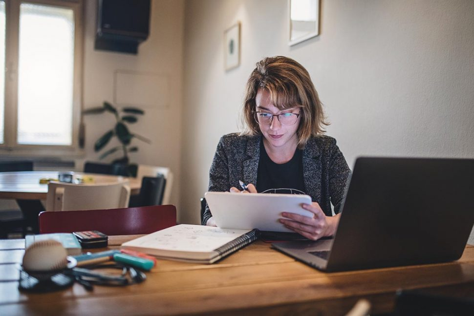 woman studying and learning