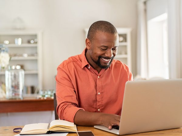 African American male working on teacher certification