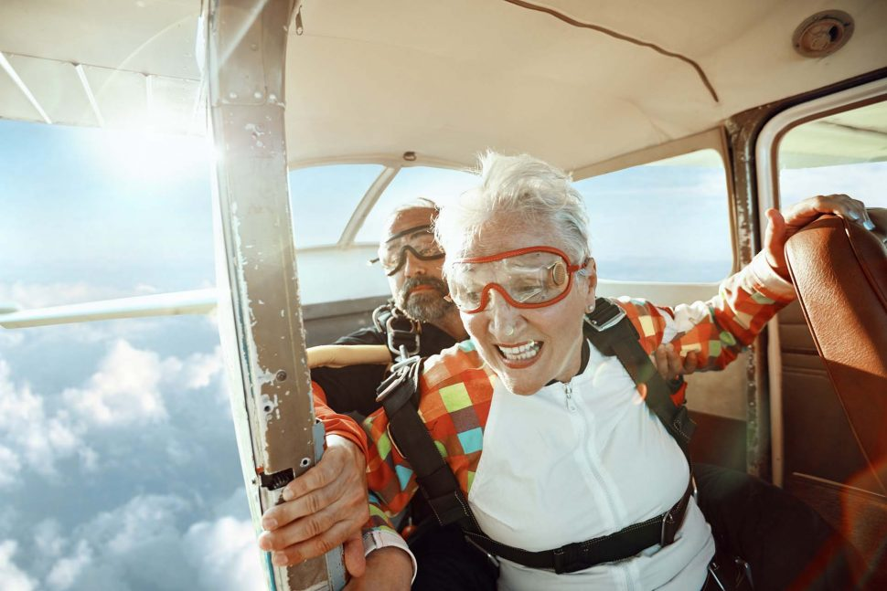 Older Woman Skydiving